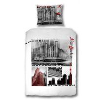 COMFORIUM - Housse de couette New York 140x220 cm en coton coloris blanc et noir
