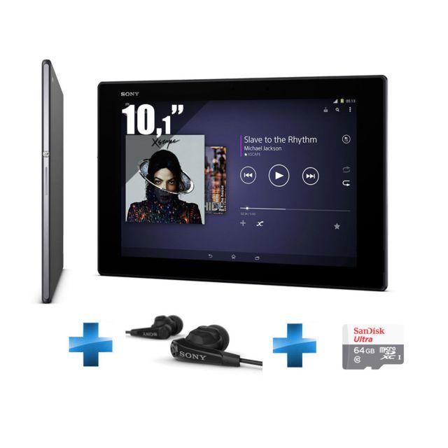 SONY - Xperia Z2 Tablet - 10,1'' IPS - 16 Go - Wifi - Noir + Écouteurs noirs MDR-NC31EM + Micro SDXC Ultra UHS-1 64 Go