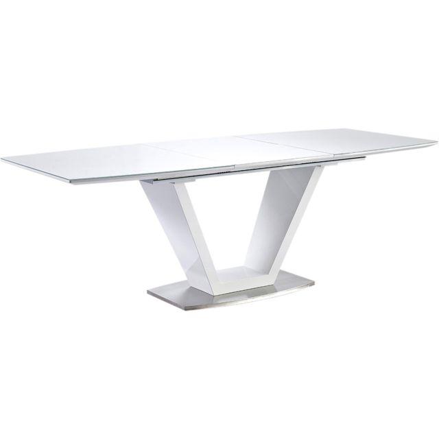 comforium table manger extensible blanc laqu design. Black Bedroom Furniture Sets. Home Design Ideas