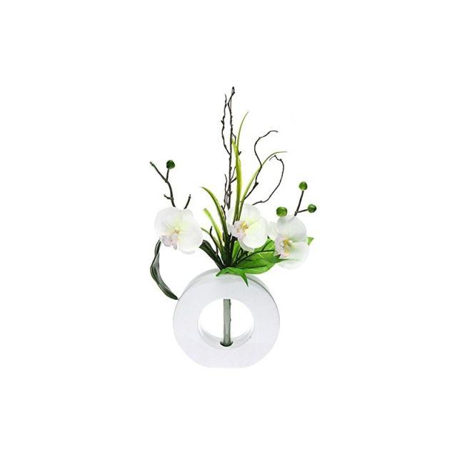 Composition orchidées - Fleurs blanches vase blanc - Fleurs artificielles
