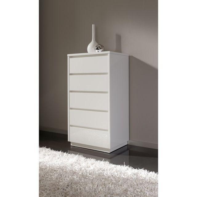 Ma Maison Mes Tendances Chiffonnier 5 tiroirs en bois laqué brillant blanc Lana - L 61 x l 45 x H 112