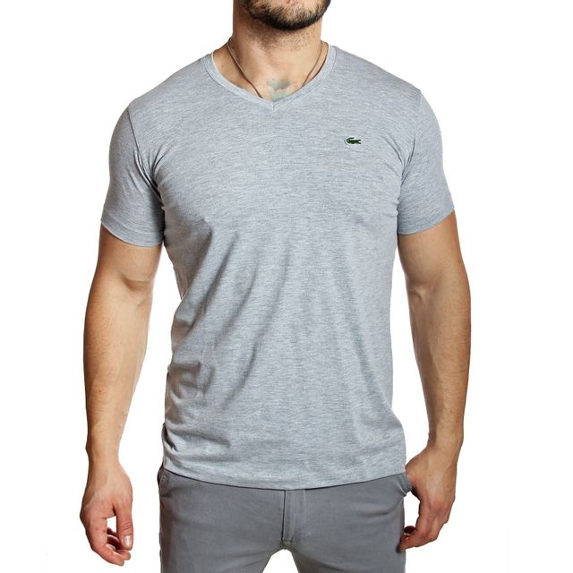 5e4b345ca04 Lacoste - T-shirt homme Th2683 col V manches courtes gris chiné - pas cher  Achat   Vente Tee shirt homme - RueDuCommerce