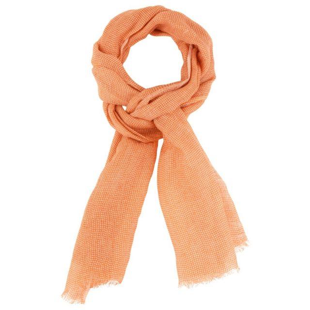 Les Poulettes Bijoux - Echarpe 100% Lin Petits Carreaux Colors - Orange - pas  cher Achat   Vente Echarpes, foulards - RueDuCommerce 008fc44954d