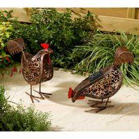 Smart Garden - Lot de 2 poules en métal avec Led solaire hauteur 27.5cm Silhouette