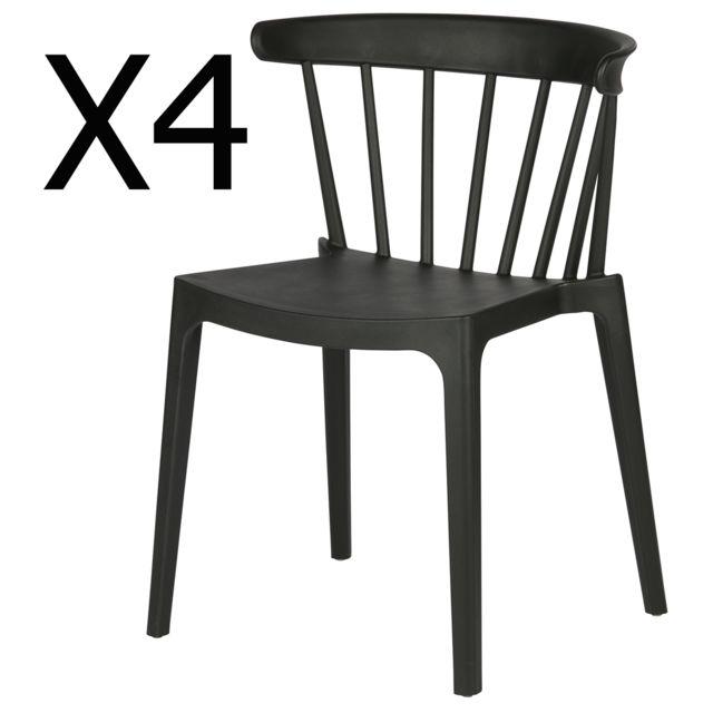Lot de 4 chaises en polypropylène couleur noire Dim : H75 x L52 x P53 cm