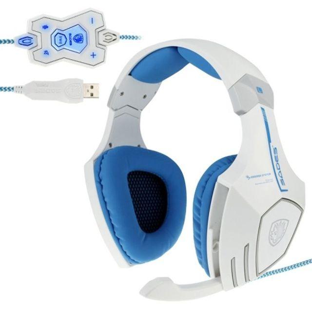 Yonis Casque audio Pc microphone télécommandé jeux en ligne Usb blanc