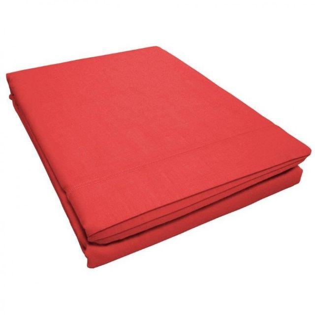 100pourcentcoton drap plat 240x300 cm couleur corail 100 coton gamme douceur d 39 interieur. Black Bedroom Furniture Sets. Home Design Ideas