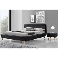 concept usine lit scandinave norway 140x190cm cadre de lit design noir avec pieds en - Cadre De Lit Bois Massif