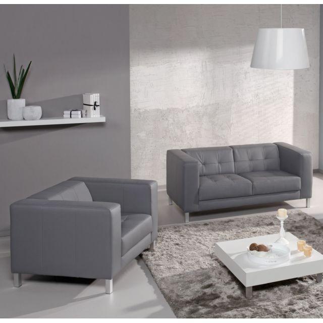 RELAXIMA Canapé Standing : 2 places + fauteuil - Plusieurs coloris au choix