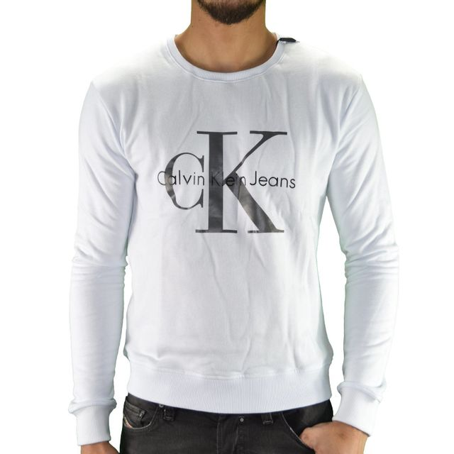 c8ce891148b50 Calvin Klein - Sweat Shirt - Homme - Sweat Classic 01 - Blanc XXL - pas cher  Achat / Vente Sweat homme - RueDuCommerce