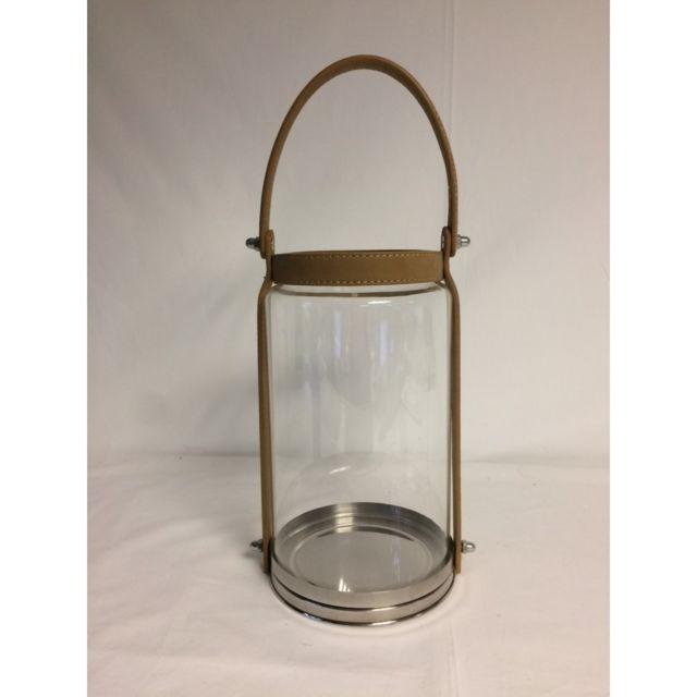 Lanterne en verre avec anse en cuir