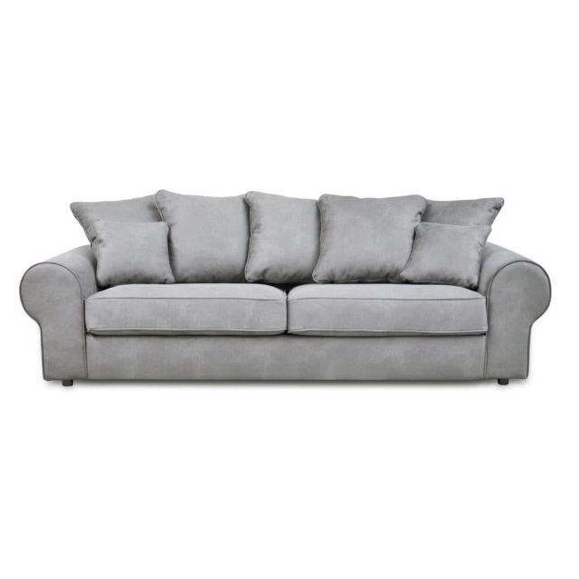 mathilde et pauline canap fixe en tissu trait anti t ches 3 places avec coussins d coratifs. Black Bedroom Furniture Sets. Home Design Ideas