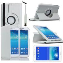 Vcomp - Housse avec support Et Rotation 360° en cuir Pu pour Samsung Galaxy Tab 3 Lite 7.0 T110/ Tab 3 Lite 7.0 Ve Wi-Fi T113/ Tab 3 V T116NU/ Tab 3 Lite 7.0 3G T111 + mini stylet - Blanc