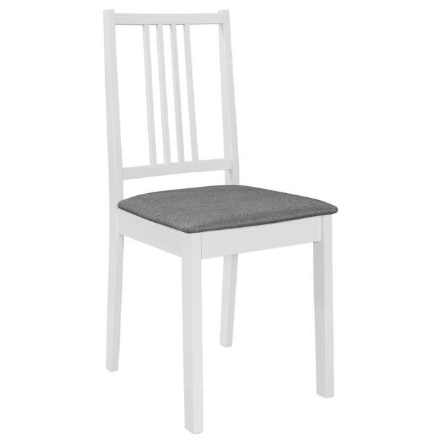 Icaverne Chaises de cuisine & de salle à manger collection 4 pcs Chaises à dîner avec coussins Blanc Bois solide