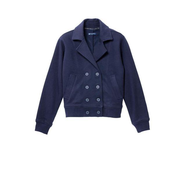 58d9338f56b54 Petit Bateau - Veste Femme en Milano Esprit Caban Bleu Smoking - pas cher  Achat   Vente Blouson femme - RueDuCommerce