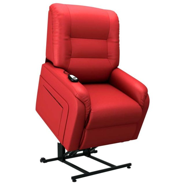 Vidaxl Fauteuil Inclinable Tv Electrique Rouge Similicuir Salon Chambre Maison