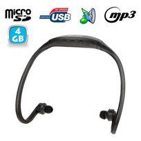 Yonis - Casque Mp3 sport sans fil lecteur audio Micro Sd Running vélo Noir 4Go