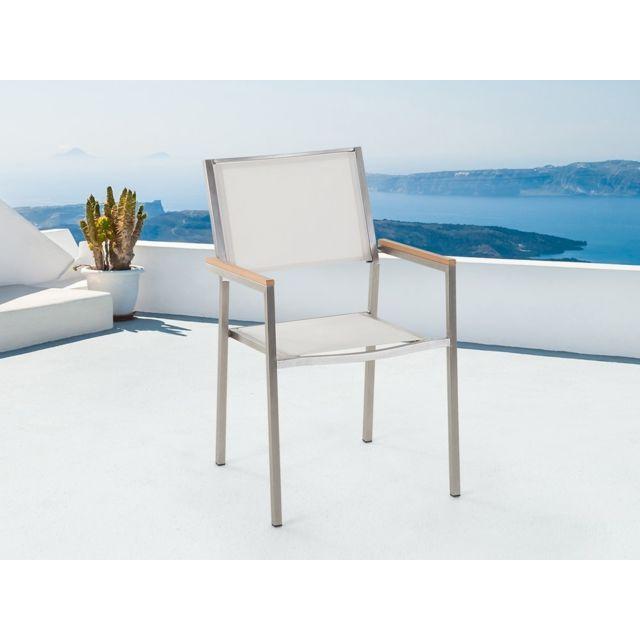 BELIANI - Chaise de jardin en acier inox et textile blanc GROSSETO ...