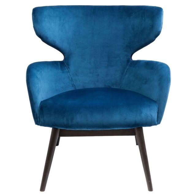 Karedesign Fauteuil Aroha velours bleu pétrole Kare Design