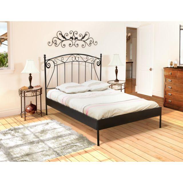 topdeco lit 2 personnes 140x190 cm romance noir avec. Black Bedroom Furniture Sets. Home Design Ideas
