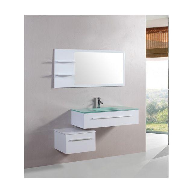 Rocambolesk Magnifique meuble salle de bain lyrics blanc : ensemble salle de bain 2 meubles + 1 vasque + 1 mirroir
