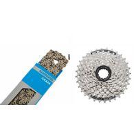 Shimano - Cassette Acera Cs-hg41 11-32 et chaîne Cn-hg71 8 vitesses - Kit pignon et chaîne - set gris/argent