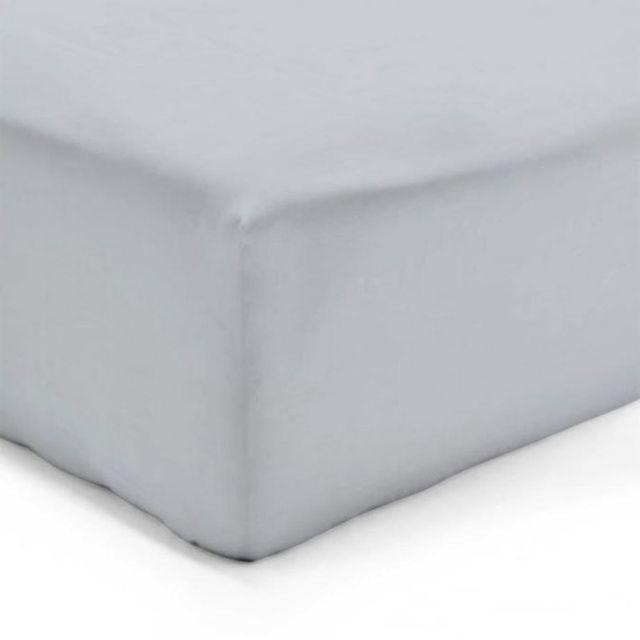 Drap Housse 140 x 190 cm Gris Perle Veri