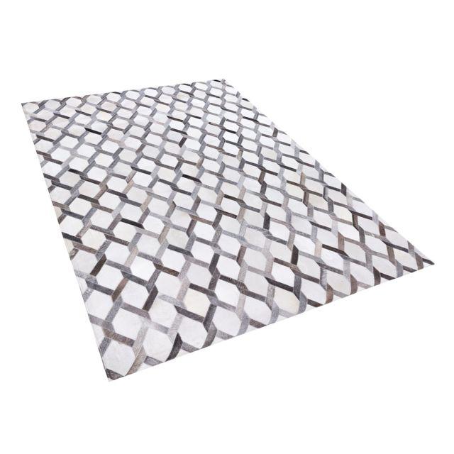 15ef51e9f7c0dc BELIANI - Tapis gris avec motif géométrique 160 x 230 cm AYDIN - pas ...