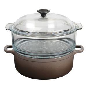 invicta cocotte en fonte maill e avec cuit vapeur en verre vap 39 fonte taupe pas cher achat. Black Bedroom Furniture Sets. Home Design Ideas