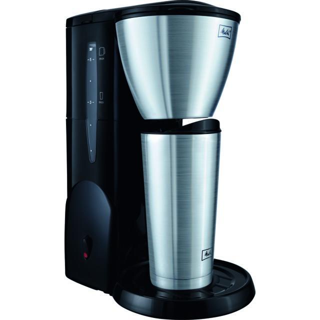 MELITTA SINGLE FIVE THERM MUG NOIR/ACIER BROSSÉ Single5® Therm en acier inoxydable garantit un café gourmet parfaitement infusé à chaud – même enpetites quantités, à consommer chez vous ou « &