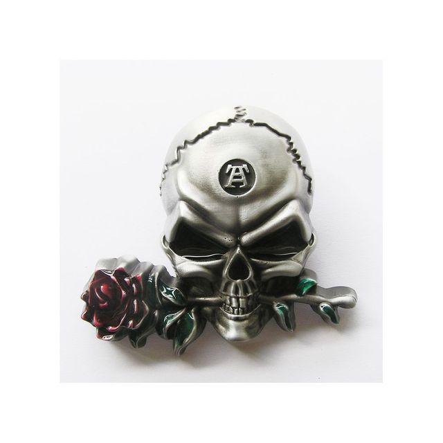 Universel - Boucle de ceinture crane et rose rouge alchemy tete de mort d1f198a729e