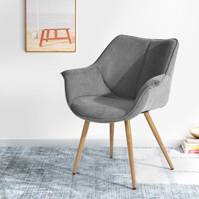 Marque Generique Fauteuil scandinave gris tissu métal look bois