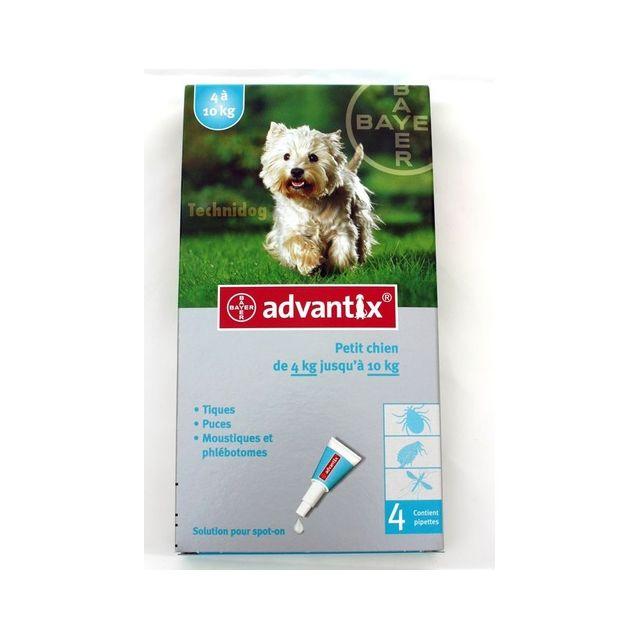 Advantix 4 Pipettes anti-puces petit chien 4 à 10kg
