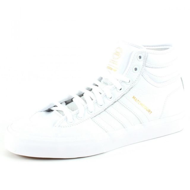 ADIDAS HOMME CQ1122 BLANC CUIR BASKETS MONTANTES Blanc Blanc