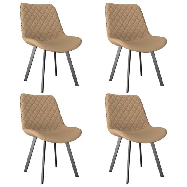 Superbe Fauteuils et chaises famille Alger Chaises de salle à manger 4 pcs Crème Similicuir