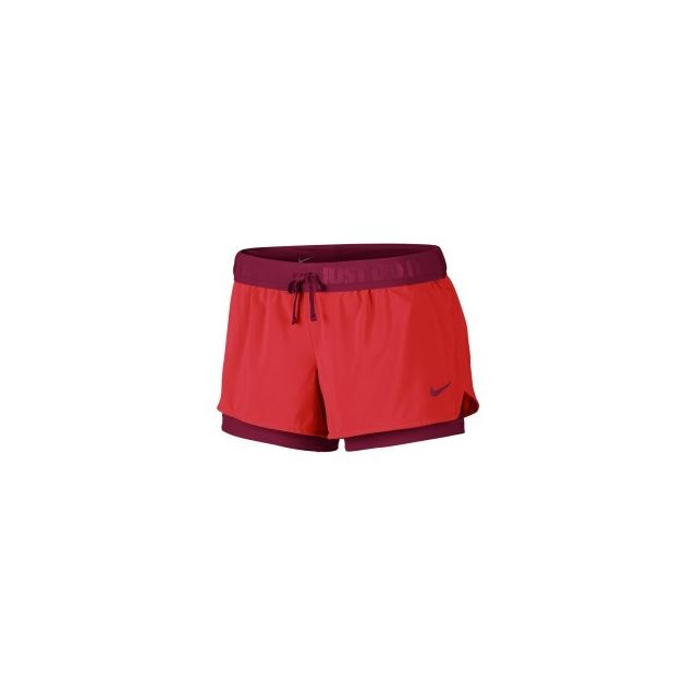 Nike Short Full Flex 2 In 1 rouge femme pas cher Achat