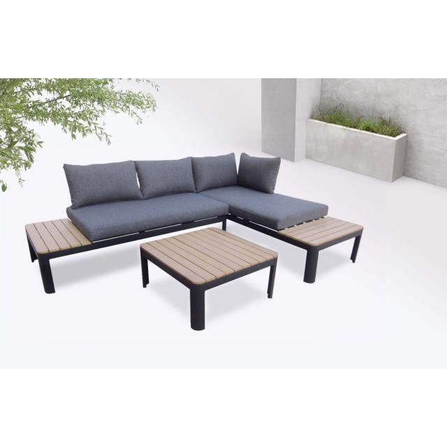 Ibiza - Salon de jardin en angle - 4 places - Aluminium / Composite Couleur  - Noir / Gris