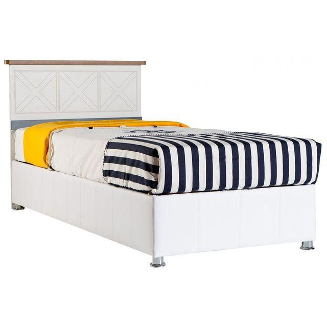 comforium - lit-coffre coloris blanc et bleu 90x200 cm - pas cher