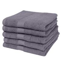 Rocambolesk - Superbe Lot de 5 serviettes de bain anthracite 70 x 140 cm 100% coton 500 g/m² Neuf