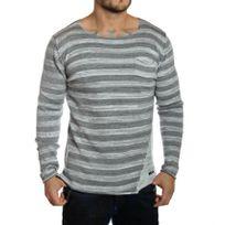Redbridge - Pull oversize homme rayé gris clair