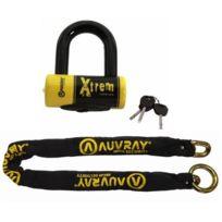 Auvray - Chaine antivol Xtrem 120 Lasso Sra noir jaune