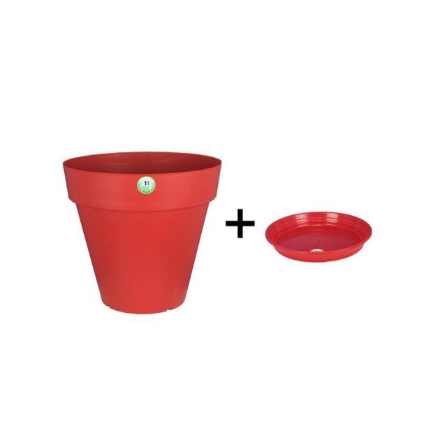 Riviera & Bar Pot et Soucoupe Soleilla diametre 70cm H66cm rouge - Riviera