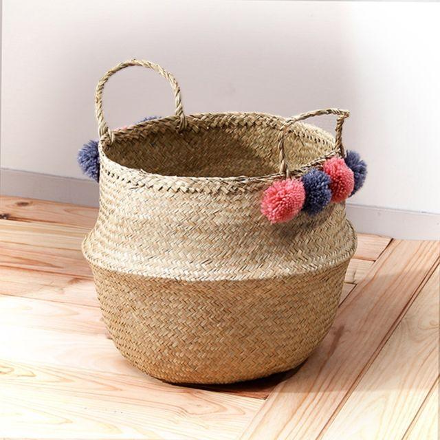 casame panier tress en jonc de mer rond avec pompons roses et gris pas cher achat vente. Black Bedroom Furniture Sets. Home Design Ideas