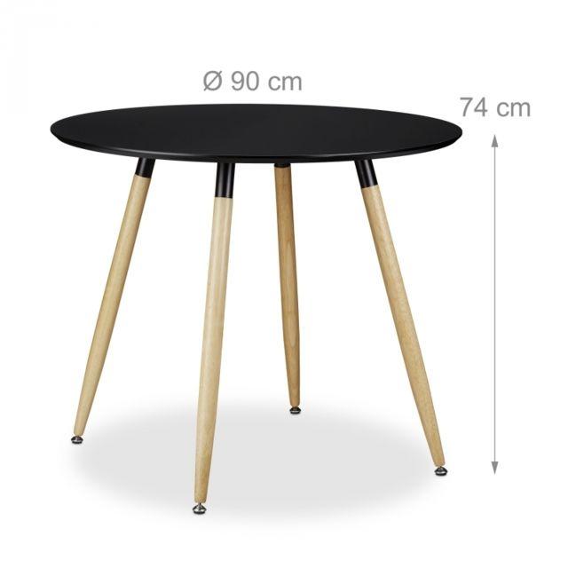 Autre Table à manger ronde en bois noir style scandinave 90 cm de diamètre 0913008
