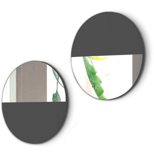 Pegane Lot de 2 miroirs ronds en bois et verre coloris noir de jais - Dim : D.40 x P.1.5 cm