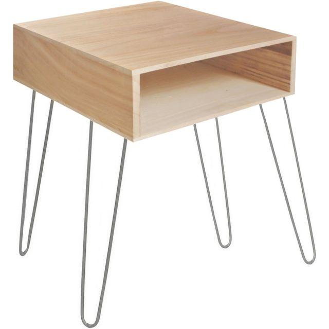 promobo table de salon bout de canap range magazine scandinave bois nature pied m tal pas. Black Bedroom Furniture Sets. Home Design Ideas