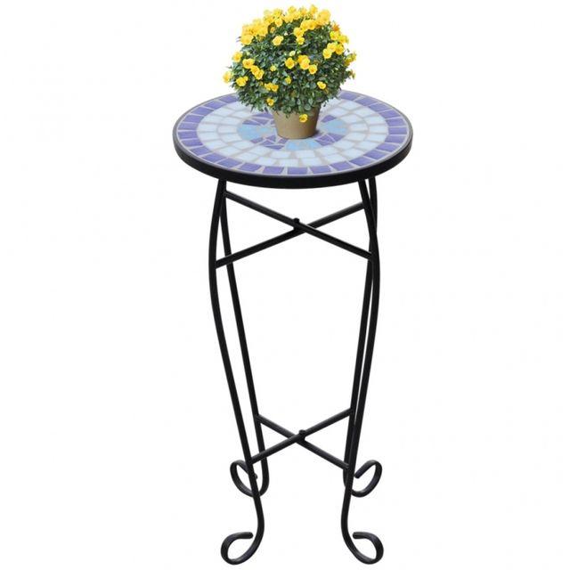 Casasmart Table d'appoint pour plantes en mosaïque bleu et blanc