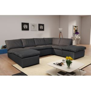 modern sofa canap d 39 angle modulable avanti gris fonc panoramique 289cm x 80cm x 0cm. Black Bedroom Furniture Sets. Home Design Ideas