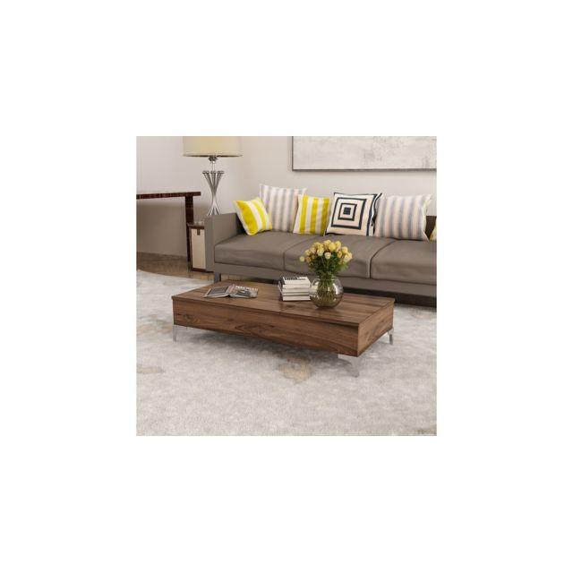 Homemania Table Basse Delinda Relevable Compacte Porte Pc, Porte-Revues - avec Étagères - pour Salon - Noyer en Bois, 121 x 60 x 3