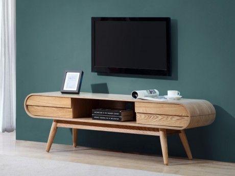 VENTE-UNIQUE - Meuble TV DAVEN - 2 tiroirs & 1 niche - Pieds frêne ...